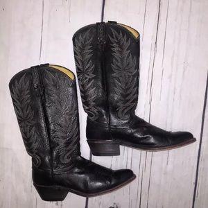 Dan Post Vintage Black Leather Boots. Size 8.5